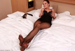 Zuzana P. masturbating in black pantyhose
