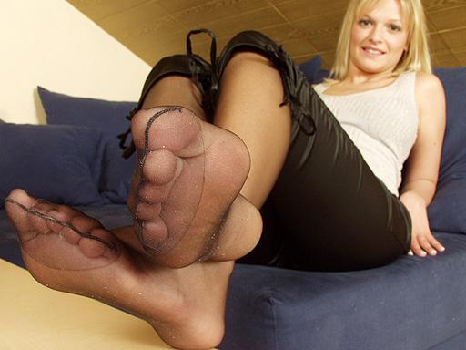 Nadine B. feet in black pantyhose