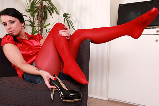 Kirsten Plant in red pantyhose
