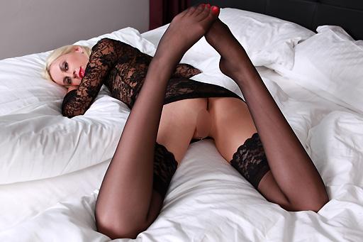 Alexa Wild in black stockings
