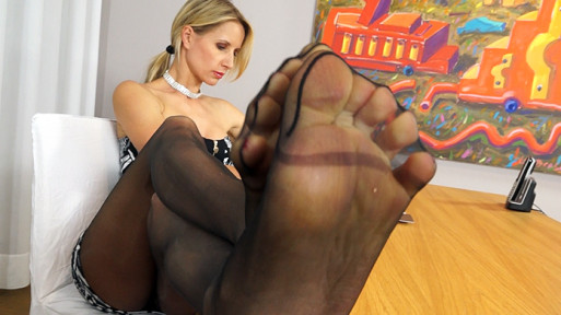 Crystal secretary pantyhose feet